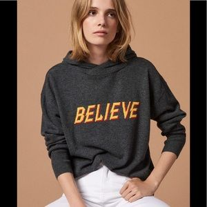 Sandro Wool Cashmere Believe Hooded Sweater